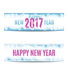 Happy new year 2017 banners pink text and vector