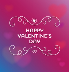 happy valentines day text and filigree vector image vector image