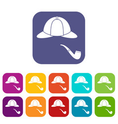 Hat and pipe icons set vector