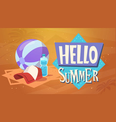 hello summer vacation sea travel retro banner vector image vector image