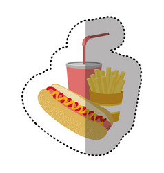 Hot dog soda and fries french icon vector