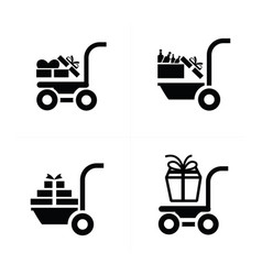 Icon shopping cart and man courier vector