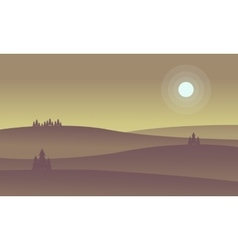 Landscape of hill and full moon silhouettes vector