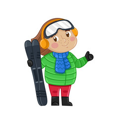 Little girl in winter clothes holding skis vector