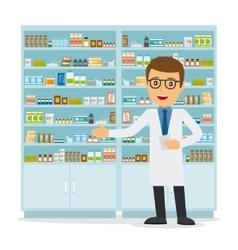 Male pharmacist on medicine background vector image