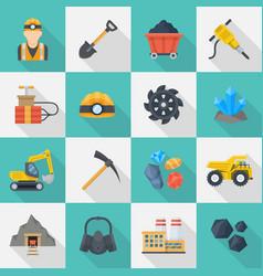 minig industry icon cartoon set vector image
