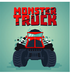 Monster truck big car cartoon style isolated vector
