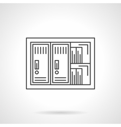 Office documents safe flat line icon vector