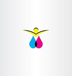 Print ink man logo icon symbol vector