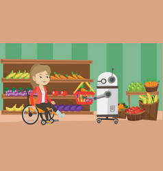 Robotic helper working in supermarket vector