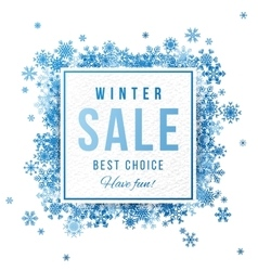Sale banner with blue snowflakes vector