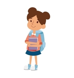 School kid girl education character vector