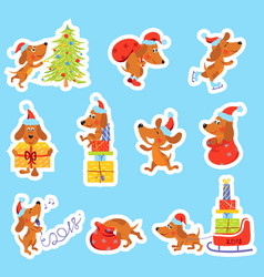 Set of christmas new year stickers with cute dog vector