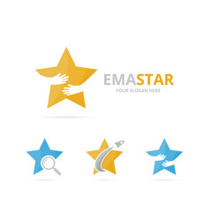 set of star logo combination leader and embrace vector image
