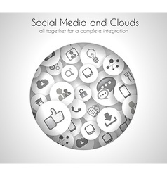 Social Media and Cloud concept background vector image