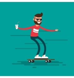 The male hipster rides on a skateboard vector image vector image