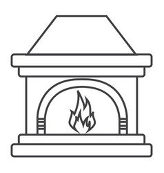 thin line fireplace icon vector image vector image