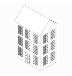Three-storied building icon isometric 3d style vector