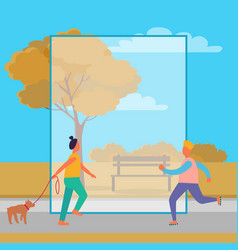 Woman and dog and rollerskating man in autumn park vector