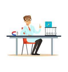 Young physicist sitting behind the desk with hand vector