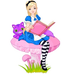 Alice holding book vector