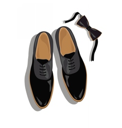 Black classic male shoes top view vector