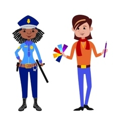 People police officer and artist different vector