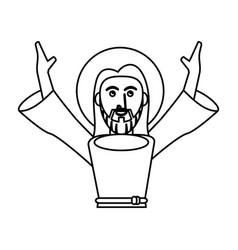 Jesus christ catholic pray outline vector