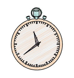 Color pencil graphic of simple stopwatch vector