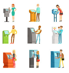 People using electronic self service terminals vector