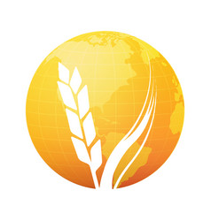 Silhouette of wheat on background of gold planet vector