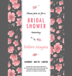 invitation bridal shower card with sakura flowers vector image