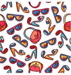 Seamless pattern of woman fashion accessories vector