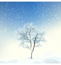 Winter digital watercolor landscape vector