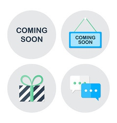 Coming soon shopping icons set vector