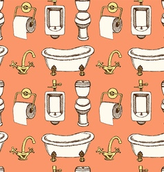 Sketch bathroom and toilet equipment in vintage vector