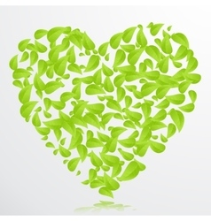 Heart green leaves background vector