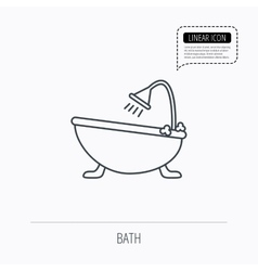 Bathroom icon bath with shower sign vector