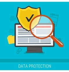 Data protection and safe work online vector image