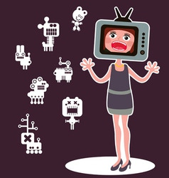 TV lady vector image