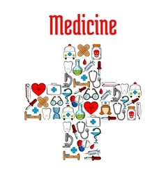Medicine symbols in a shape of medical cross vector