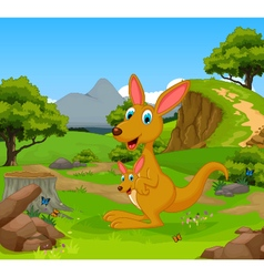 Funny kangaroo cartoon in the jungle vector