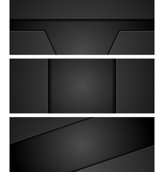 Abstract black concept tech web banners vector