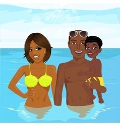 african american family enjoying vacation time vector image vector image