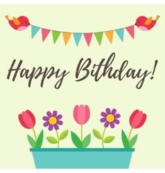 Birthday card with birds and flowers vector