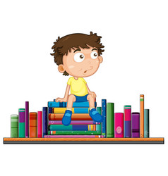 boy sits on pile of book vector image vector image