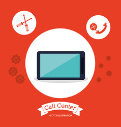 Call center smartphone technology tools vector