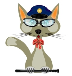 Cat in form of the police bodies vector image vector image