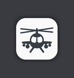 Combat helicopter icon vector