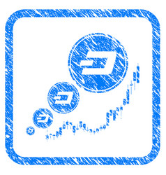 Dashcoin inflation chart framed stamp vector